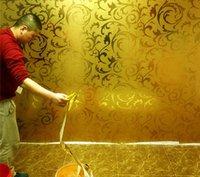 Papéis de parede folha de ouro papel de parede dourado prata europeia-estilo ranúnculo folha de vasilha de folha de teto sala de estar quarto fundo