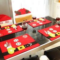 Mesa de Navidad Mats Cutlery Bag Sets Santa Claus Calcetines de regalo Cena de Navidad Mesas Decoración Decoración WLL412