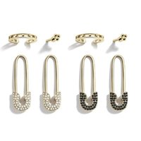 Stud 4Pcs Punk Crystals Safety Pin Shape Earrings Set Ear Threader Studs Jewelry