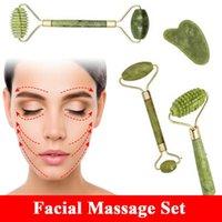 Massage du visage Ensembles Visage naturel Massager pour Gua Sha Jade Rouleau Corps Guasha Croir Micro Aileaux Rouleaux Mince Ascenseur Beauty Outils amincissant