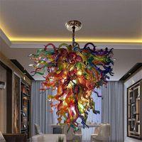 Итальянская лампа ручной вручную стеклянная люстра 90см широкий и 100см высокий современный висит светодиод 110-240V подвесные светильники люстры для спальни дома художественные украшения