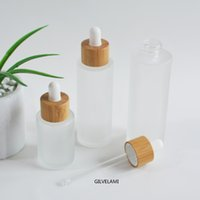 Frosted Glass Dropper Bottles with Natural Bamboo Caps DIY Essential Oil Container Empty Cosmetic Packaging Skin Care 20ml 30ml 50ml 60ml 80ml 100ml