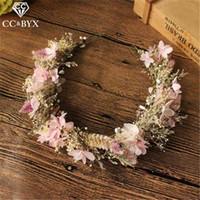 CC Joyas de boda Hairbands Tiaras y coronas Garland Compromiso Accesorios para el cabello para novia Forma de flores de hilo dulce DIY MQ031