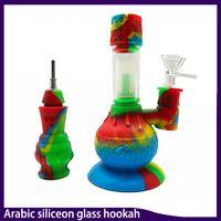 Arabische Silikonglas-Hukahn-Bongs Percolatoren Wasserleitungen Shisha-Rohrglas-Sets mit Glasschüssel Mini-Bongs DAB-Rigs
