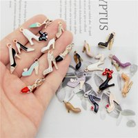 Julie Wang 20pcs Email High Heel Bedels Mixed Women Shoes Alloy Gold Tone Chain Bracelet Jewelry Make Accessories