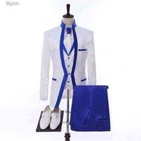 Design 3 Pieces White Royal Blue Rim Stage Clothing For Men Suit Set Mens Wedding Suits Costume Groom Tuxedo Formal