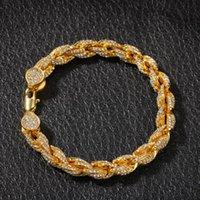 Seilkette Armbänder Euro aus Kristall Strass Gold Silber Farbe Männer Charme Armband Hip Hop Rock Entertainment Schmuck Link,