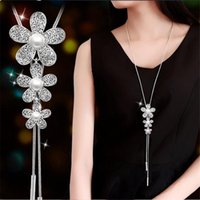 Pendant Necklaces Fashion Crystal Square Choker Maple Butterfly Long Sweater Chain For Women Femme Statement Necklaces&pendants Accessories