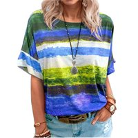 Tie Dye Gradient Women Print T Shirt Summer O-Neck Loose Tops Casual Streetewear Ladies Oversized Tee Top Plus Size 5XL