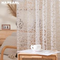 Curtain & Drapes NAPEARL Jacquard Modern Living Room Curtains Sheer For Kitchen Tulle Bedroom Window Treatments White Custom Size