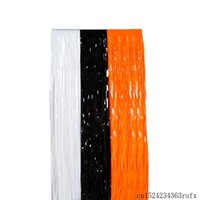Party Decoration 100 Pcs Plastic Shimmer Tinsel Curtain Backdrop Doorway Birthday Halloween Decor Black White Orange