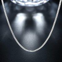 Мода Ювелирные изделия Серебряная цепочка 925 Ожерелье 2 мм Коробка Цепочка для женщин Девушка 16 18 20 22 24 дюйма 114 T2