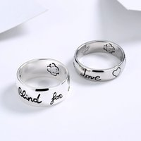 Designer jewelry double couple love fearless Thai silver heart flower bird letter men's and women's ring