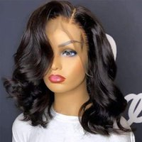 Lace Wigs Body Wave Human Hair 13X4 Frontal Wig For Black Women Pre-Plucked Short Wavy Closure Peruvian