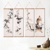 Картины Китайский пейзаж зеленые растения бамбуковые холст плакаты печать спальни гостиная стена искусства твердой древесины свиток с рамкой