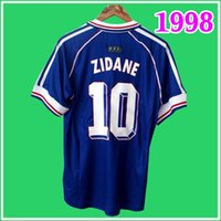 10 # Zidane 1998 프랑스 레트로 빈티지 축구 유니폼 헨리 Maillot 드 발 1996 2000 2002 2006 홈 멀리 태국 품질 유니폼 축구 셔츠 남자