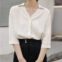 TwicEfanx Chiffon Top V-Neck Summer Estate Coreano Aperto Abito a mezza-manica Camicetta Camicetta Vintage Solid Blusa Feminina Abbigliamento 868h 210602