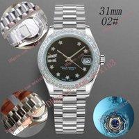 デラックス女性腕時計31mmメカニカルオートマチックダイヤモンドフレームプレジデントブレスレットスター9 O 'クロックローマ数字モントルデラックス2813スチール防水時計
