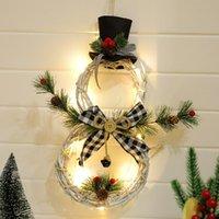 Christmas Hang Decoration LED Lights Snowman Xmas Wreath Home Rattan Door Tree Navidad Decor Circle Decorative Flowers & Wreaths