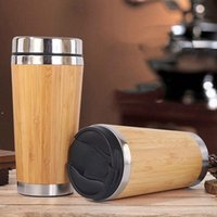 Tazas de aislamiento de acero inoxidable de la taza de bambú portátil Sello de la oficina de la oficina de la oficina tazas 2style Lid Zza6654