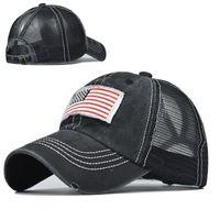 포니 테일 모자 아메리칸 플래그 자수 자수 야구 모자 씻어 그물 모자 고전 공 모자 여성 조정 가능한 야외 스포츠 headgear bwb7378