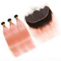 Малайзийская омбре розовое розовое золото человеческие волосы 3 панки с фронтальным прямым # 1b розовая розовая ombre weave wefts с кружевной лобной закрытием 13x4
