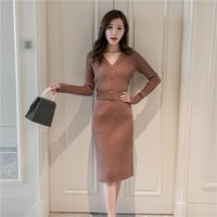 Casual Dresses Elegant Knitted Sweater Dress For Women Spring V-Neck Long Sleeve With Buttons Sashes Sexy Office Lady Maxi Pullovers