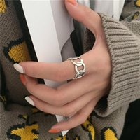 Cluster Rings Korea Trendy Metal Chain Silver Color Geometric Open 2021 Fashion Women Party Jewelry Finger Ring
