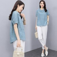Women's Two Piece Pants Summer Clothes Cotton Sets Fashion Plus Size Loose Short Sleeve T-Shirt Top + Casual Suits Womens Outfits X242