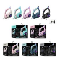 AKZ-022 Cat Ear Wired Headphones 7.1 Channel LED Lighting Over-head Headset With Noise Reduction Mic