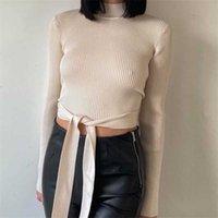 omen High Neck Sexy Short Sweater 2021 Fashion Split Design Halter Belt Decoration Long Sleeve Sweater Streetwear G0922