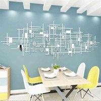 Einfache Linie Geometrie Spiegel Acryl Wandaufkleber Wohnzimmer Dekoration Originalität 3D DIY Wand Wohnkultur 210831