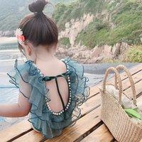 Çocuk Fırfır İnci Mayo Kızlar Yaz Spa Plaj Mayo 2021 Çocuklar Backless Yay Tek Parça Prenses Bikini Mayo C6985