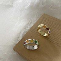 2021 NUEVO Vintage Bohemia colorido esmalte amor corazón anillo lindo simple metal oro plata anillos de color para mujeres anillo de humor Q0708