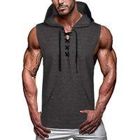 Men's Tank Tops Drawstring V Neck Mens Hooded Vest Mnes Clothing Black Casual Hoodies Solid Color Sleeveless Male Pocket Top Men