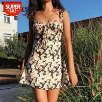 2021 Summer Fashion Flower Power shoulder tie summer Dress zipped back mini dresses Bustier waisted Cupped bust with pleat vestido #Ci8f