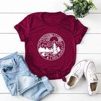 Femmes Summer Impression Tee shirt Coton Casual Beau paysage Dessin animé Harajuku Esthétique T-shirt de base Camisas J0VT #