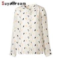 Blouses pour femmes Chemises SUYADEREAM Femmes Chemisier Silk 100% véritable Crêpe imprimé Long Bouton Bouton Dame 2021 Chemise d'Ol d'hiver automne