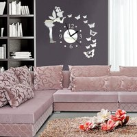 Wall Stickers Creative Clock Diy Mirror Decorative With Butterfly Paste Small