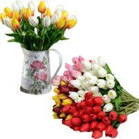 رؤساء 35 سنتيمتر الزهور الاصطناعية توليب العروس باقة بو diy الزفاف المنزل الديكور النباتات وهمية بالجملة 40JA22 أكاليل الزخرفية