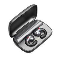 S19 블루투스 무선 이어폰 TWS 뼈 전도 스테레오 이어 버드 HD 소음 감소 통화 스포츠 음악 헤드폰 2200mAh 충전 케이스와 함께 Binaural 미니 머리스트