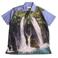 22SS paesaggio foresta cascata pittura ad olio pittura fresca tessuto eu formato t shirt da uomo donne moda estate justin bieber goth
