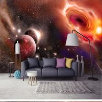 Fondos de pantalla Custom Any Tamaño Hermoso Fantasía Universo Starry Sky Planet Milky Way TV Habitación para niños Fondo Decoración de la pared Pegatinas 3D