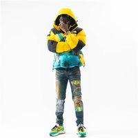 Erkek Kot Yüksek Sokak Gelgit Marka Yıkama Su Sıkıntılı Retro Kirli Renk Delik Yama Slim-Fit Erkekler