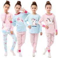 Pijamas infantiles Historieta impresa con traje de algodón de niñas y niñas con traje de aire de manga larga con cuello redondo.