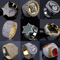 14K Gold Iced Out Rings Mens Hip Hop Jewelry Bling Cool Zirconia Stone Luxury Deisnger Men Hiphop Rings Gifts