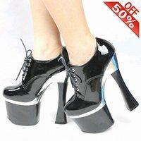 Klänning skor mode stor storlek 11 gotiska punk pumpar 8 tum chunky heels arbete ankelband plattform låga rör stövlar 19cm kvinnor hög