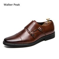 Chaussures de robe taille 38-48 hommes Double Monk Strap Oxford Cuir Square Toe Classic Casual Casual Casual Loafer Marque