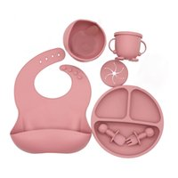 5-Piece Set Baby Silicone Tableware Food Supplement Bowl Spoon Fork Snack Cup Water Bib Dinner Plate 210913