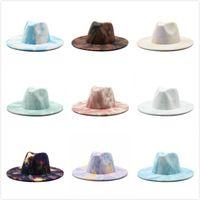 10 نمط التعادل صبغة الجاز قبعة رسمية سيدة فيلت فيدورا القبعات الأزياء البريطانية أنماط واسعة بريم قبعات للجنسين تريلبي جلفو للرجال النساء
